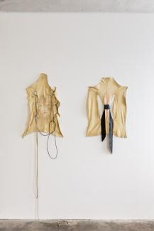 "Isabella Fürnkäs  Vermillion and Scarlet (from the series ""Wounded""), 2017 Sheep skin, various materials 85 x 45 cm Courtesy of the artist and Clages gallery"