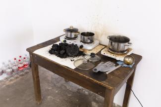 He Xiangyu Coca-Cola Project, 2018 Coca-Cola, table, stove, pot  variable Courtesy of the artist