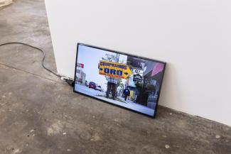 Ahmet Ögüt Fair Wage for a Made up Job, 2018 Video and Performance  A performer will be hired to spin a monitor displaying my film with low-paid Sign Spinners of LA. As part of the project, performer will be paid per hour as much as Members of the Bundestag, the federal parliament of Germany.  Courtesy of the artist